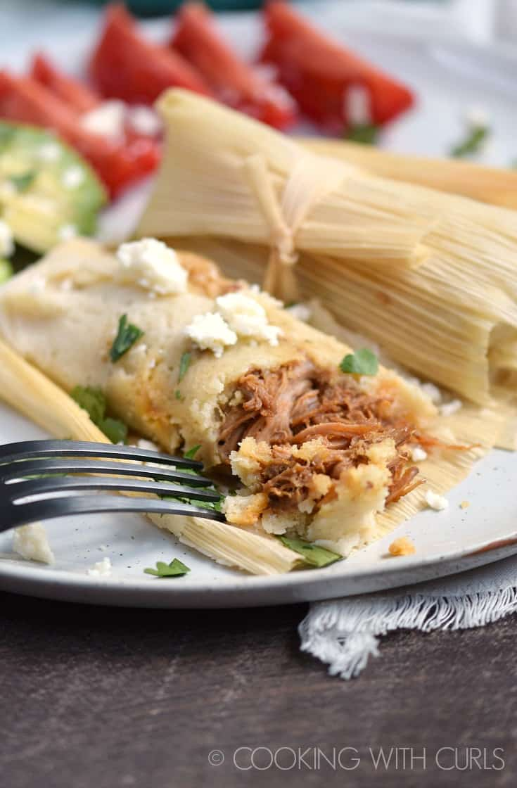 Slightly spicy pork surrounded by tender masa make these Instant Pot Red Chile Pork Tamales an instant family favorite!! © COOKING WITH CURLS