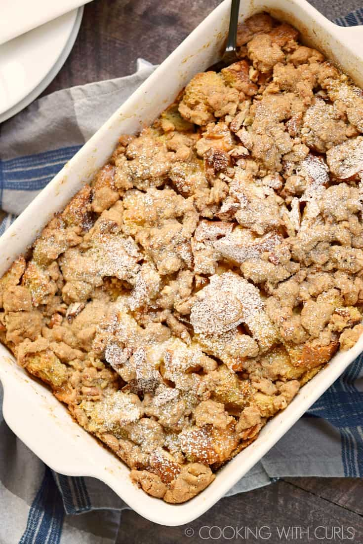 The flavors of your favorite breakfast treat are layered into this easy and delicious Cinnamon French Toast Bake! © COOKING WITH CURLS