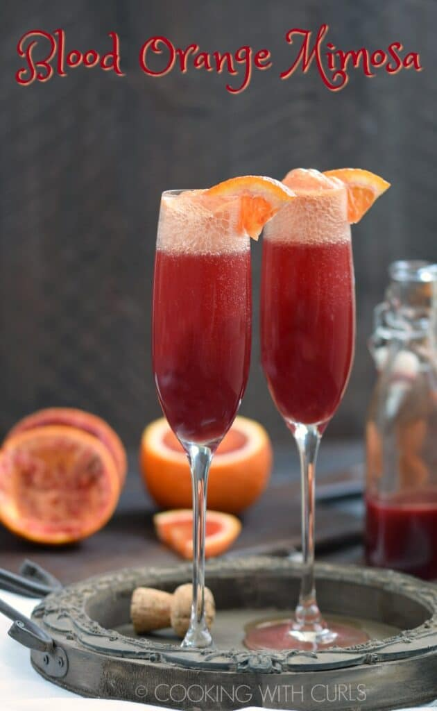 Make your next brunch a bit more special with the addition of Blood Orange Mimosa to your menu! © COOKING WITH CURLS