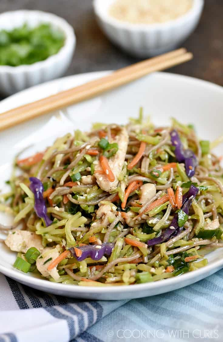 These Asian Chicken Noodle Bowls are loaded with vegetables, and flavor for a healthy and fast meal any day of the week! © COOKING WITH CURLS