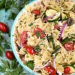 Impromptu parties are not a problem when you can throw this Mediterranean Pasta Salad together in no time! © COOKING WITH CURLS