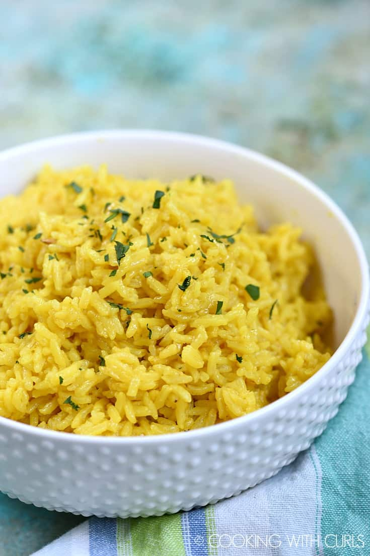 Instant Pot Yellow Rice Cooking With Curls