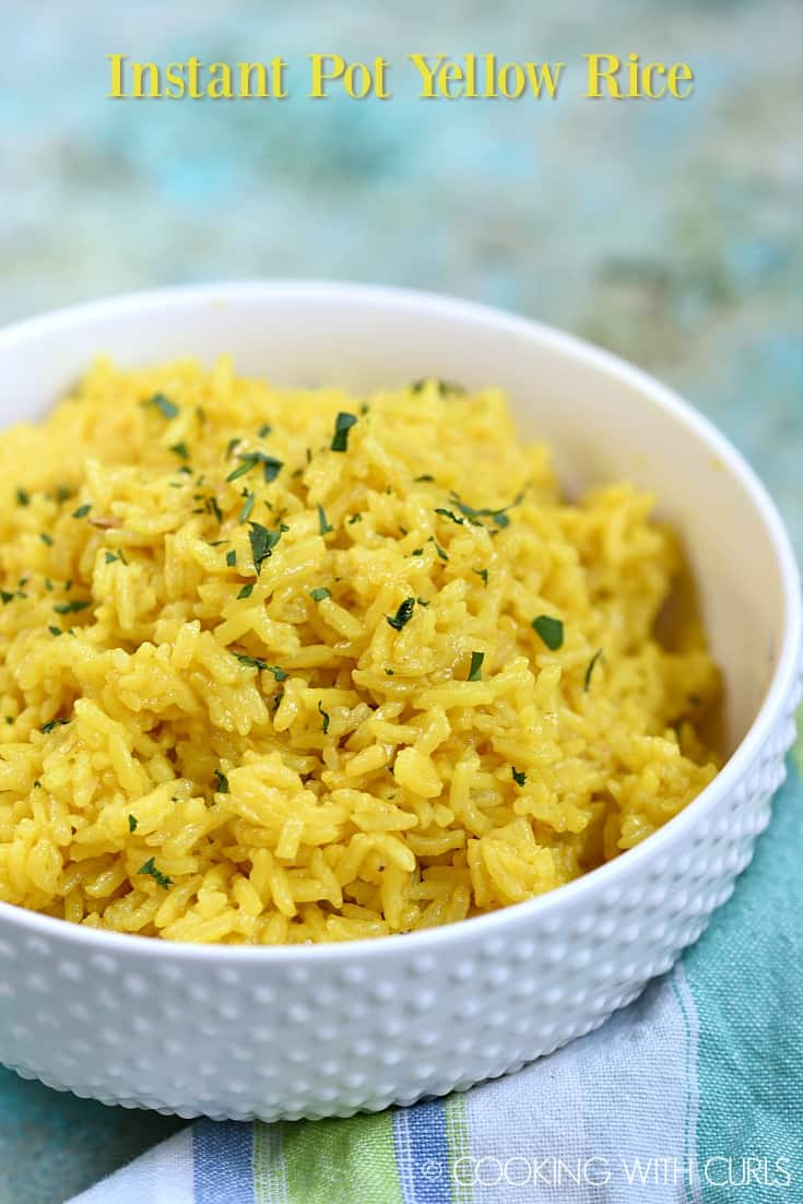Instant Pot Yellow Rice is the quintessential side dish for your favorite Mediterranean and Middle Eastern meals.  It is easy to prepare, which makes it the perfect side dish on busy nights! #sidedish #instantpot #middleeastern