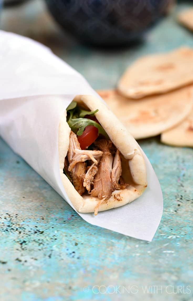 Pita wraps made with Instant Pot Chicken Shawarma! © COOKING WITH CURLS
