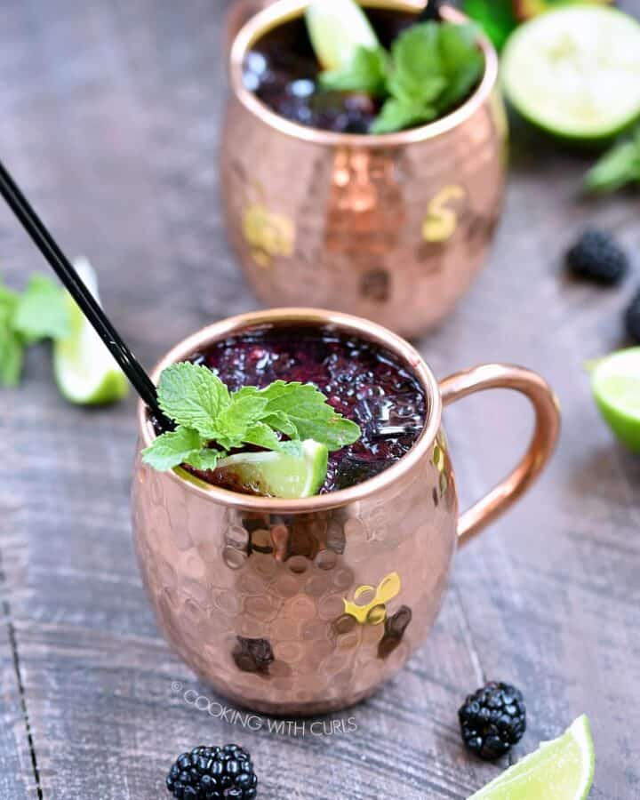 A light and refreshing Blackberry Moscow Mule is the perfect way to cool down in the summer heat! © COOKING WITH CURLS