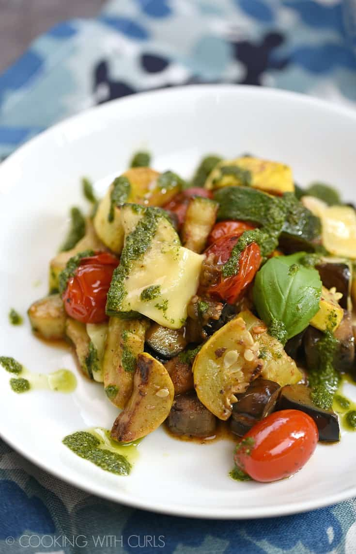 Charred Summer Vegetables topped with shaved Gruyere and a simple basil pistou equals a deliciously healthy meal that is simple to prepare! © COOKING WITH CURLS