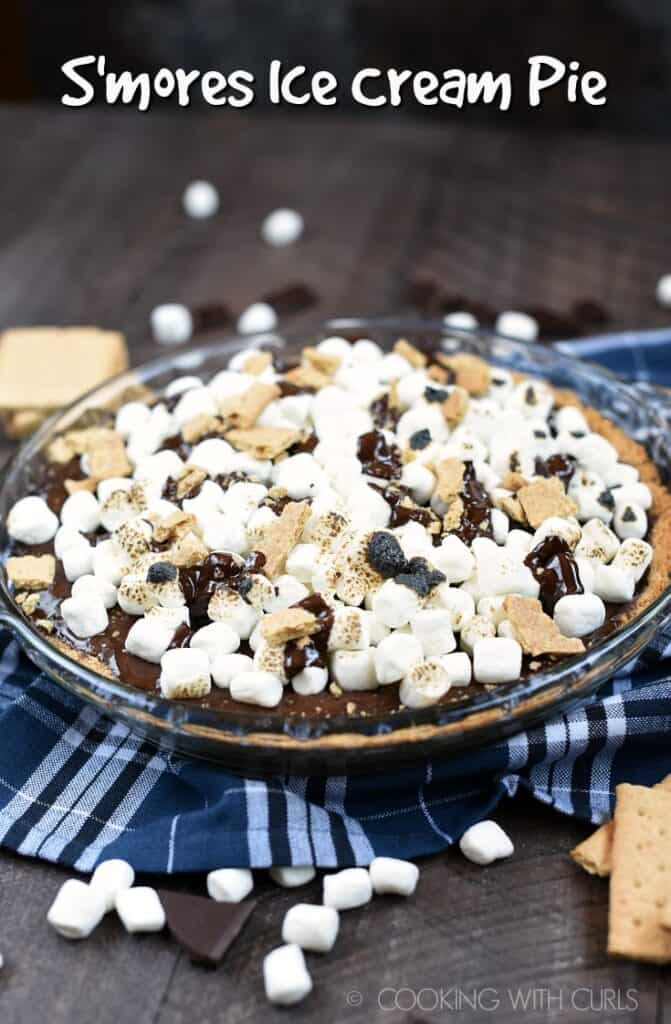 No campfire is required to make this cool and delicious S'mores Ice Cream Pie, although a blow torch is quite helpful! © COOKING WITH CURLS