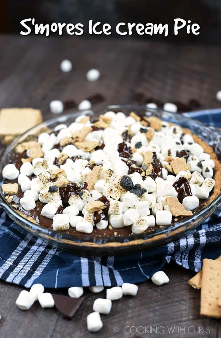 No campfire is required to make this cool and delicious S'mores Ice Cream Pie, although a blow torch is quite helpful! #dessert #icecream #dairyfree