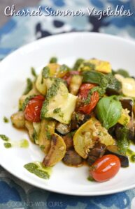 These Charred Summer Vegetables are cooked in a cast iron skillet, topped with basil and shaved cheese for a deliciously healthy meal! © COOKING WITH CURLS
