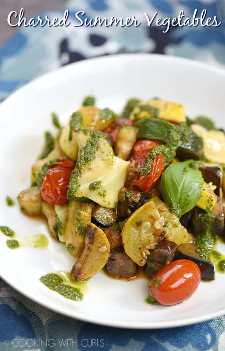 Charred Summer Vegetables are the perfect vegetarian meal or delicious side dish that you will enjoy serving all summer long! #zucchini #squash #eggplant #vegetables #Mediterranean #paleo- if you skip the cheese!