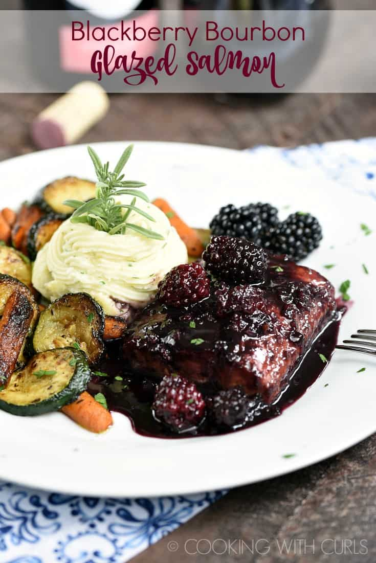 This Blackberry Bourbon Glazed Salmon is easy enough to prepare on a weeknight and impressive enough for date night! © COOKING WITH CURLS