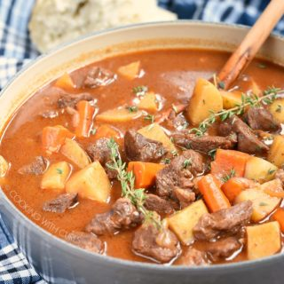 Instant Pot Beef Stew has all of the flavor of the classic favorite, but it's ready in half the amount of time! cookingwithcurls.com