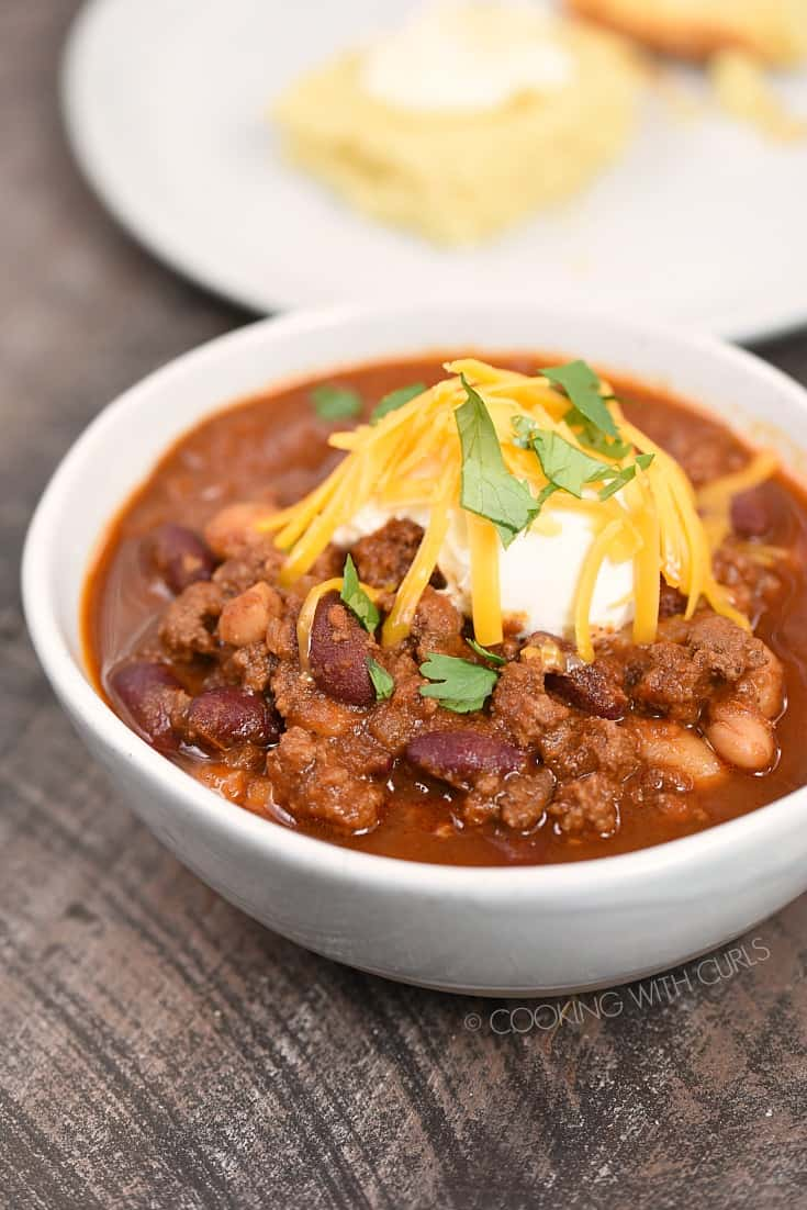 Instant Pot Guinness Beef Chili is the perfect way to warm up on a cold, dreary day! cookingwithcurls.com