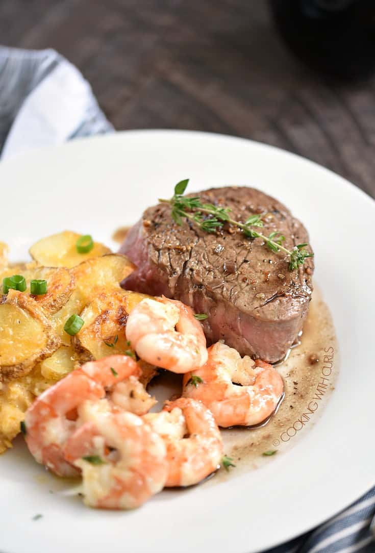 Perfect Filet Mignon for Two served with Au Gratin Potatoes and Grilled Shrimp! cookingwithcurls.com