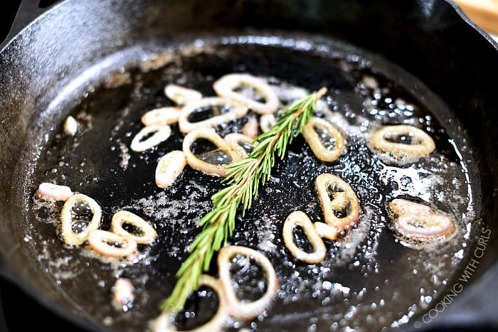 Saute the shallot slices, garlic, and rosemary in a skillet cookingwithcurls.com