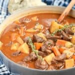 This Instant Pot Beef Stew recipe has all of the flavor of the classic favorite, but it's ready in half the amount of time! cookingwithcurls.com