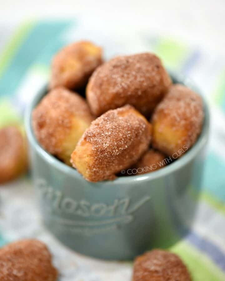 My favorite Homemade Soft Pretzel Bites covered in cinnamon sugar are perfect for snacking! cookingwithcurls.com