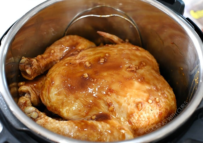Pour the marinade over the chicken in the pressure cooker cookingwithcurls.com