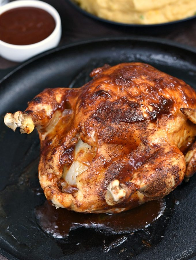 This Instant Pot BBQ Chicken is a weeknight meal game changer. Sticky delicious chicken in under an hour! cookingwithcurls.com