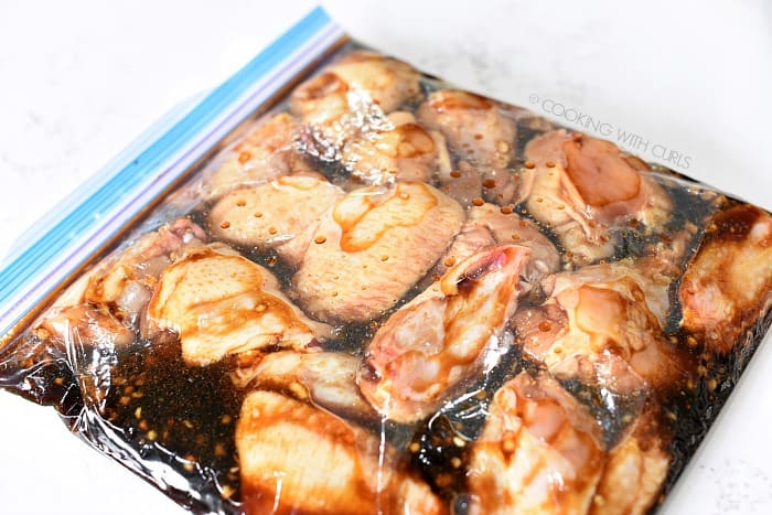Marinate the chicken wings in a large zipper top bag cookingwithcurls.com