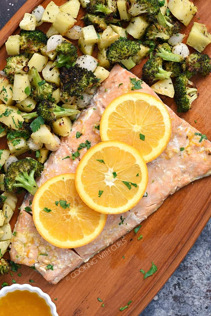 Orange Salmon with Roasted Vegetables is an easy and healthy meal that is cooked together in one pan! cookingwithcurls.com