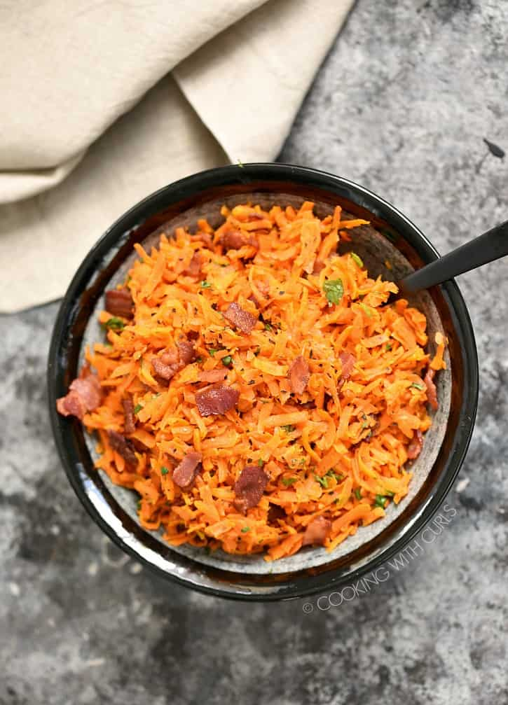 Shredded Carrots with Bacon are a delicious and super easy to make side dish that the entire family will love! cookingwithcurls.com