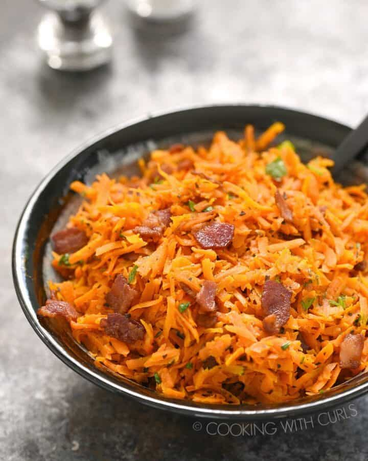Shredded Carrots with Bacon is the perfect side dish for any meal! cookingwithcurls.com
