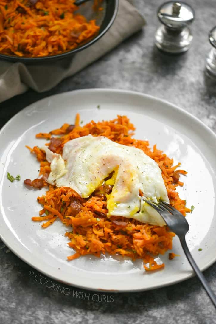 Shredded Carrots with Bacon is the perfect side dish to serve anytime of day, even breakfast!! cookingwithcurls.com