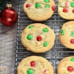 These White Chocolate M&M Cookies are super easy to make, they're soft and chewy, and everything you could want in a holiday cookie! cookingwithcurls.com