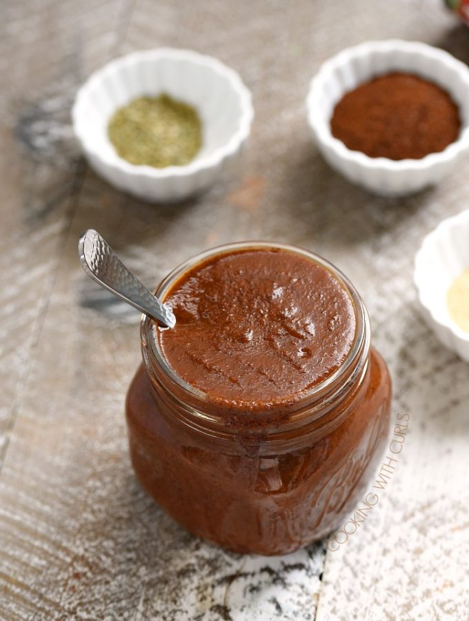 This Easy Enchilada Sauce is made using simple, pantry ingredients in about 15 minutes. It is gluten-free, Keto, Paleo and Whole30 compliant! cookingwithcurls.com