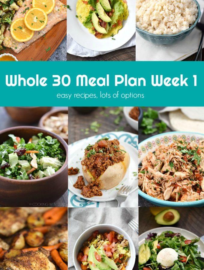 Whole 30 Meal Plan Week 1 collage