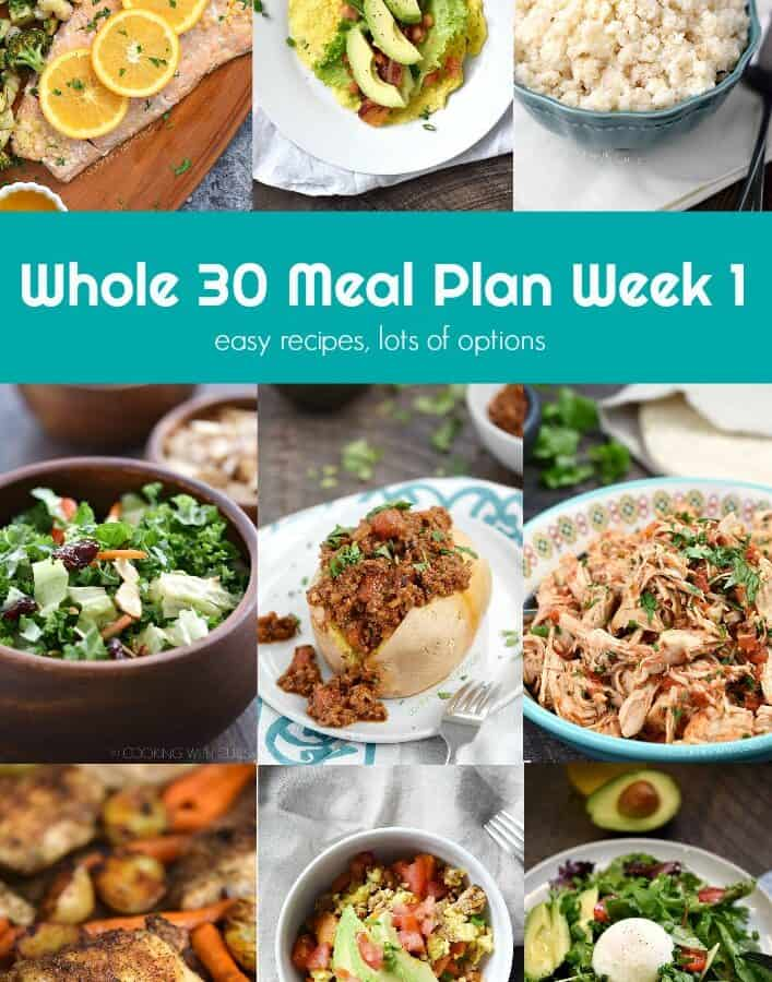 Whole 30 Meal Plan Week 1 collage
