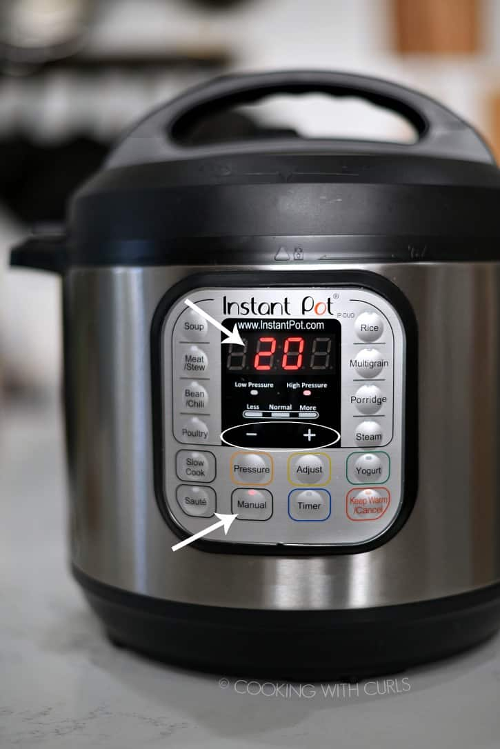 Instant Pot set for 20 minutes at High Pressure on Manual cookingwithcurls.com