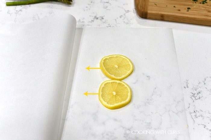 Lemon slices placed on folded parchment paper cookingwithcurls.com