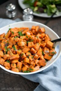 Make yourself a big batch of Oven Roasted Sweet Potatoes at the beginning of the week, then just reheat them just before serving! cookingwithcurls.com