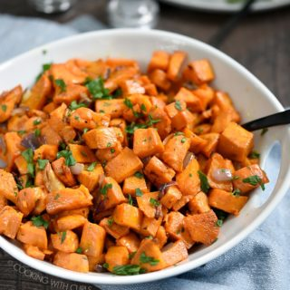 Simplify your morning meals by making a big batch of Oven Roasted Sweet Potatoes, then reheat them just before serving! cookingwithcurls.com