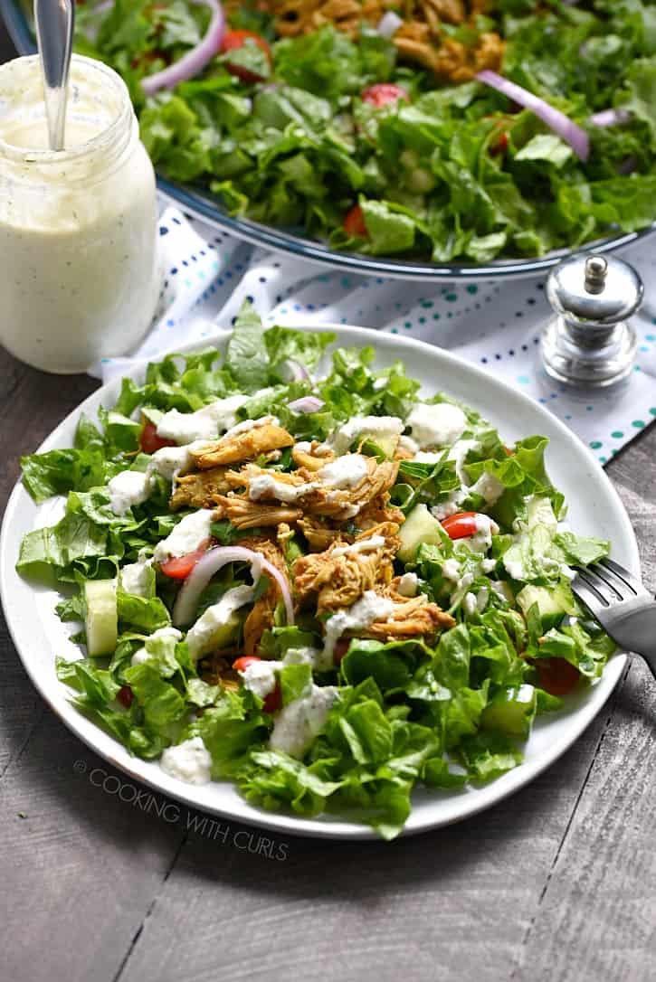 The Mediterranean infused flavors of this Chicken Shawarma Salad will delight your taste buds, while allowing you to remain Whole30 and Paleo compliant! cookingwithcurls.com