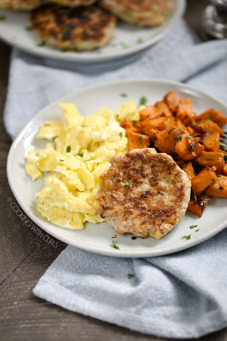 The perfect breakfast meal - Chicken Apple Sausage, Scrambled Eggs and Roasted Sweet Potatoes! cookingwithcurls.com