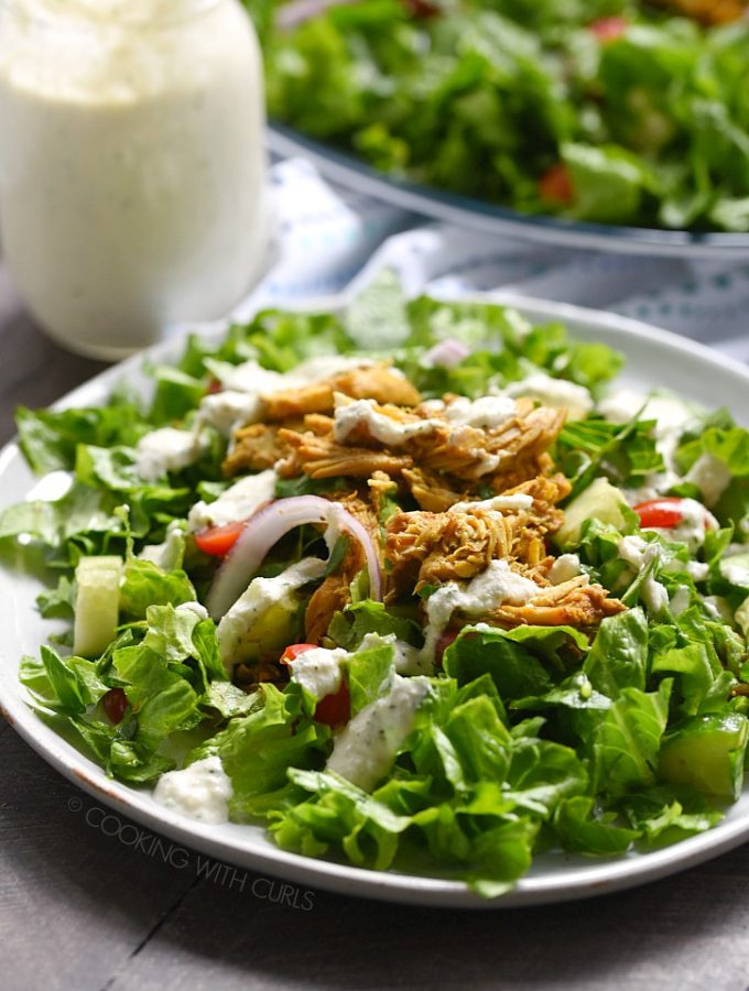 This Chicken Shawarma Salad with dairy-free Tzatziki Dressing has all of the flavors from a Mediterranean restaurant, and it is Whole30 and Paleo compliant as well!! cookingwithcurls.com