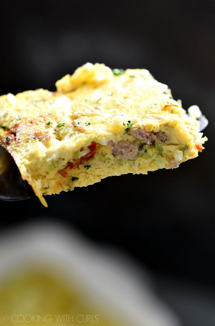 A slice of this delicious Low Carb Breakfast Casserole will keep your stomach full for hours! cookingwithcurls.com