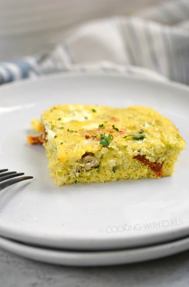 Start your day out right with a slice of Low Carb Breakfast Casserole that is high on flavor and easy on the waistline! cookingwithcurls.com
