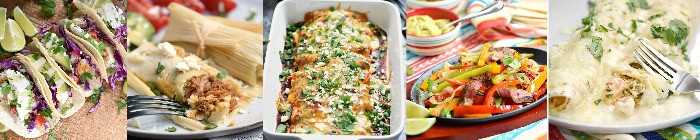Collage featuring five Mexican food recipes main dishes