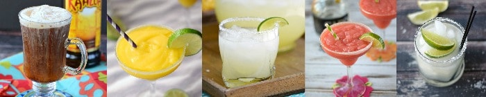 Collage with 5 Mexican Food Recipes cocktail images
