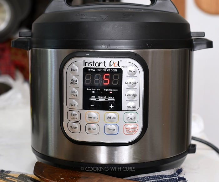Cook the potatoes in the soup for 5 Minutes on the Manual Setting at High Pressure