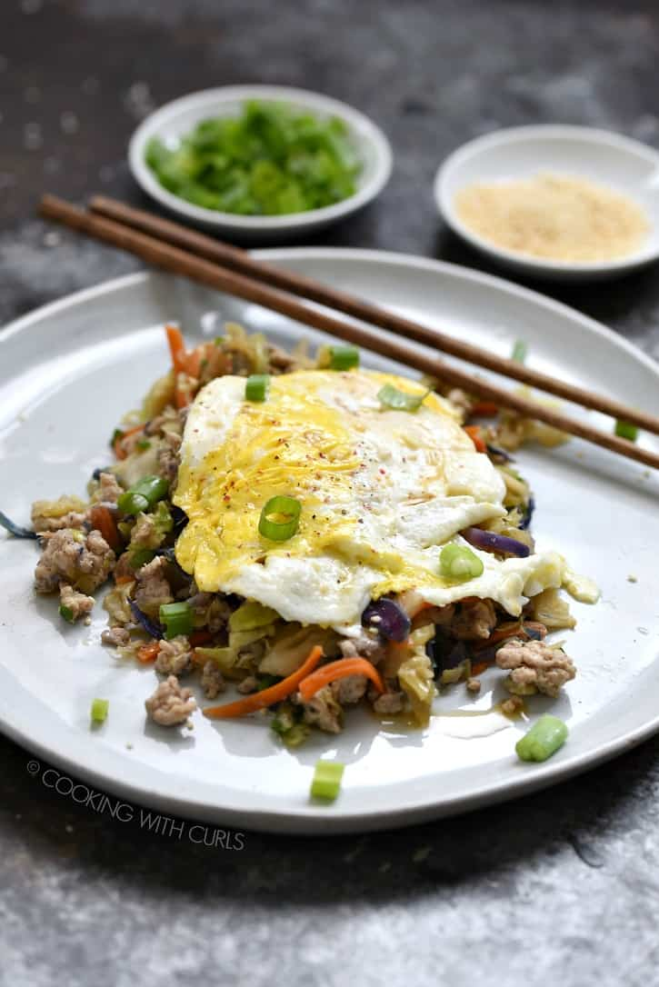 Leftover Egg Roll in a Bowl topped with a fried egg is a quick and delicious breakfast