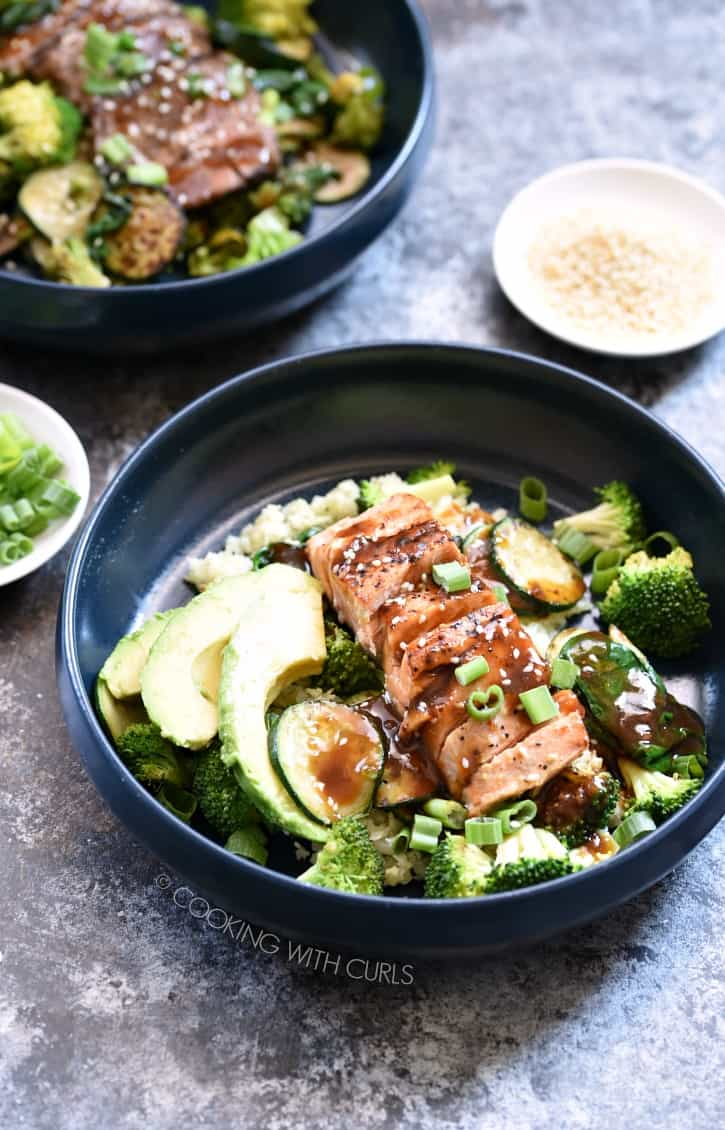 Low Carb Teriyaki Bowls topped with Salmon