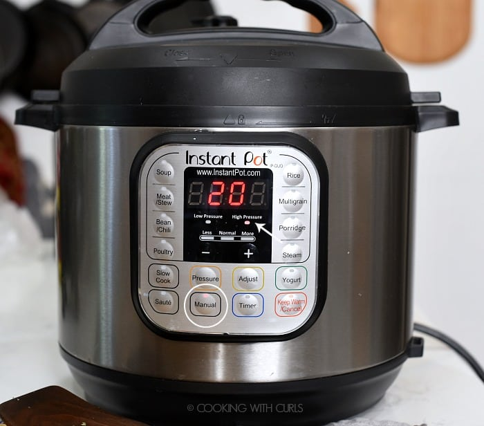 Set the pressure cooker to 20 minutes on the Manual setting at High Pressure