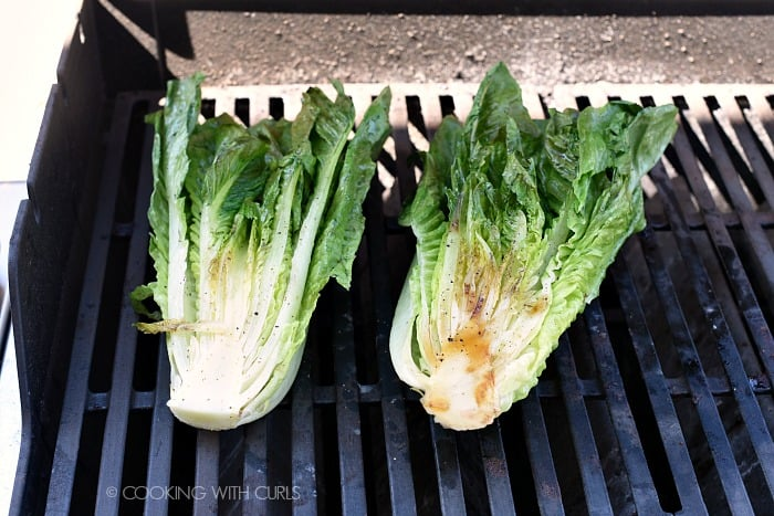 Flip grilled romaine over to the second side