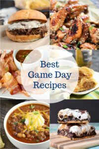 Best Game Day Recipes collage featuring Beef Sandwich, Chicken Wings, Bacon Wrapped Shrimp, Sausage Rolls, Chili and Smores Brownies