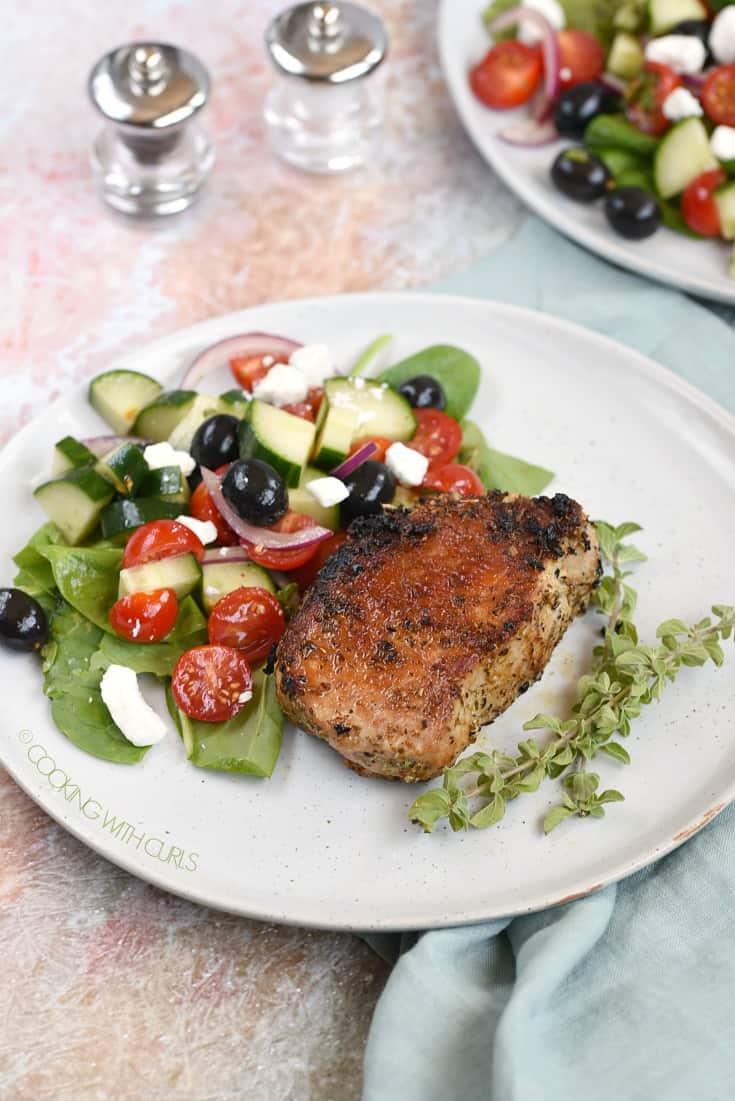 Greek Pork Chops and a Greek salad on the side